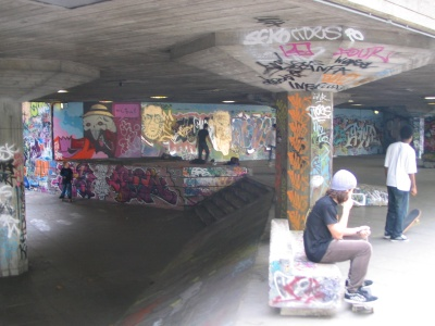 Skate and graff paradise near the river Thames, London